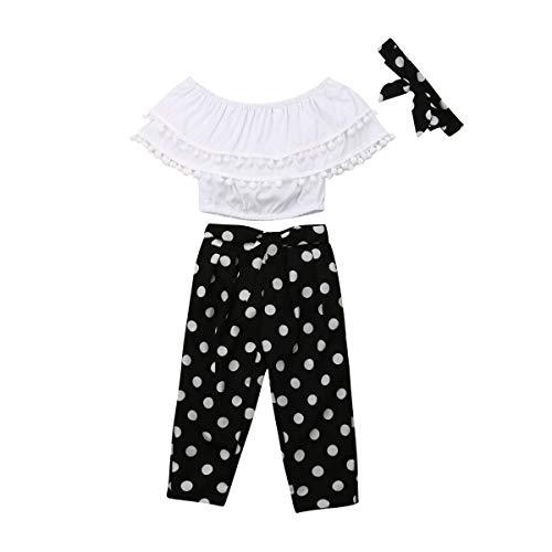 Toddler Baby Girls 2Pcs Set,Kids Ruffle Vest Crop Tops+Floral Wide Leg Pants Summer Outfits (5-6 Years, Polka dot)