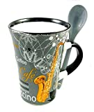 Little Snoring Gifts: Cappuccino Mug With Spoon ? Violin (Red)