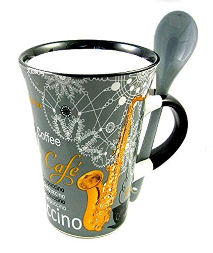 Little Snoring Gifts: Cappuccino kop met spoon - viool (rood)