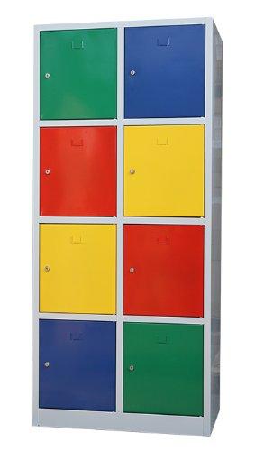 Schließfachschrank Wertfachschrank Fächerschrank Spind Umkleideschrank 8 Fächer-Spint 523422 bunt Maße:1800 x 800 x 500 mm (H x B x T) kompl. montiert und verschwweißt