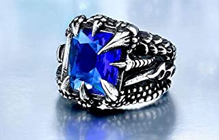 Men's claw ring with dark blue zircon size 6