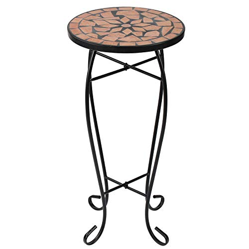 Display4top Mosaic Round Outdoor Accent Table,Plant Flower Stand,Round Side Table (Brown)