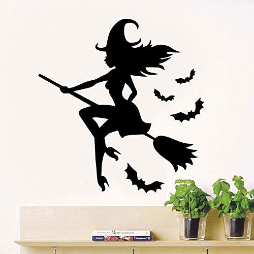 Happy heks kamer bezem op de muursticker vinyl woondecoratie woonkamer meisje slaapkamer sticker verwijderbare raam kunst 63x66cm