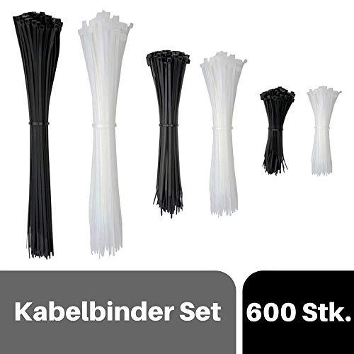 djb, extra hochwertiges Profi Kabelbinder Set, 600 Stück, schwarz/natur, Industrie-Qualität, 100% EU-Ware, Sortiment, 100/200/290 mm