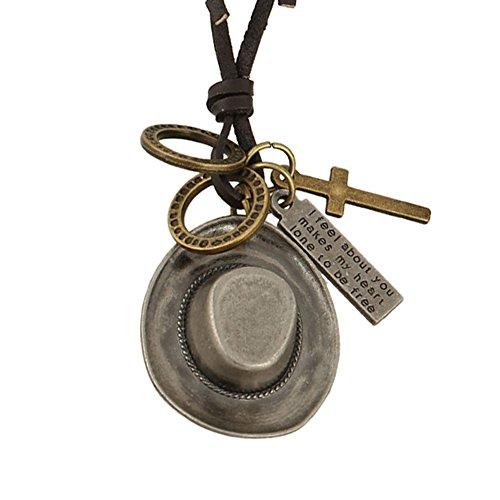 INEBIZ-Rückspiegelanhänger im Retro-Stil, Legierung, Hut, gewebtes Rindsleder, Autoanhänger, Dekoration zum Aufhängen, Fashion-Kette silber