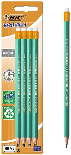 BIC Evolution Ecolutions - Blíster de 8 lápices de grafito hexagonal con goma