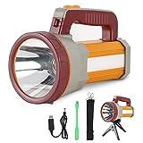 Lampe de poche rechargeable portable avec faisceau CREE à lumen élevé, projecteur LED extérieur étanche IPX4, lampe de poche multimode 9600 mAh avec sortie USB (Red)