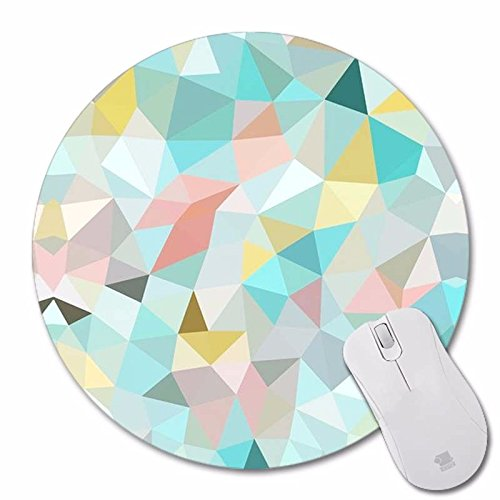 Mouse Pad Non-Skid Rubber Pad Personalized Round Desktop Mousepad, Colorful Diamond design