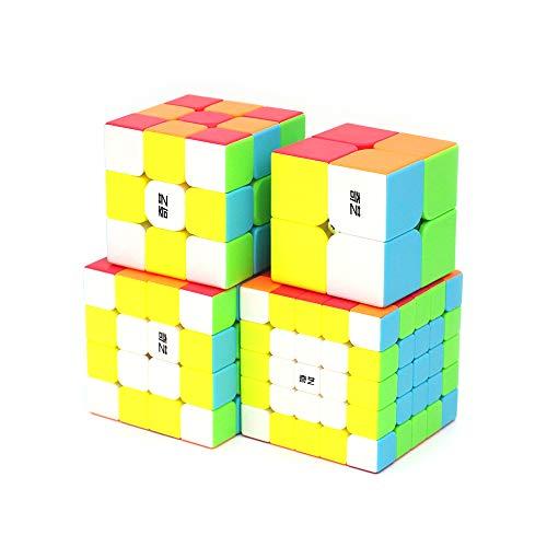 Cubelelo QiYi 2x2 3x3 4x4 & 5x5 Stickerless Combo Set Speedcubing Bundle Cubes Magic Puzzle 4