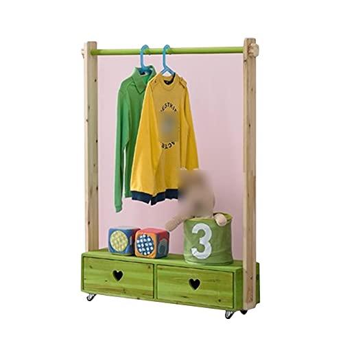 XINGLL Percheros Pie Perchero, Organizador Portátil Para Niños Con Ruedas, Dormitorio Kindergarten Para Juguetes Estante De Almacenamiento De Ropa, 2 Cajones ( Color : Green , Size : 120X20X120CM )
