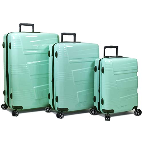 Dejuno Lumos Hardside 3-Piece Expandable Spinner Luggage Set, Sky Blue