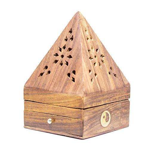 aqasha® Räucher-Stäbchen-Kegel-Halter & Schublade | Yin-Yang | Pyramiden-Form | Incense-Burner | Rosen-Holz & Messing-Beschlag | 14 cm x 9 cm x 9 cm