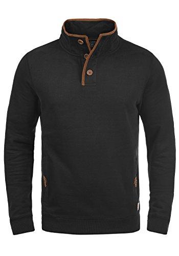Blend Achlias Herren Troyer Sweatpullover mit Stehkragen Knöpfen und Taschen, Größe:L, Farbe:Black (70155)