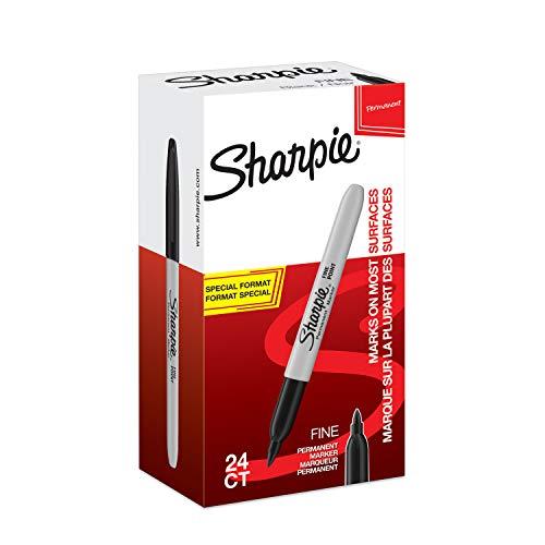Sharpie Marcadores permanentes, punta fina, color negro Box of 24
