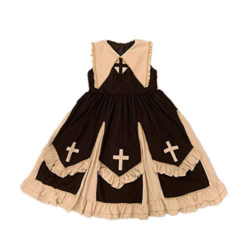 2 unids/SetVestidogtico JskLolita para Mujer conVolante Cruzado Halloween Victoriano Cosplay Kawaii Girl Goth Retro lutoDulce Cintura Alta