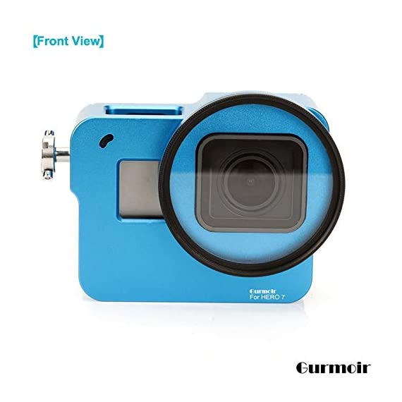 """Gurmoir Case Aluminum Alloy Back Door Housing Frame for Gopro Hero 8 Black Action Camera, Wire connectable Protective… 7 This Aluminum Housing Designed for Gopro Hero 5/Gopro HERO (2018) Action Camera, Blue Make Your Gopro More Unique Your Gopro camera will be more safety during high-velocity sport or daily using. No more worries about the camera will falling out. you can just enjoy your shooting time with 1/4 inch screw hole. the case can compatible with any 1/4"""" tripod. or you can DIY your kit. Sides open allow quick connect of cables. with the Cold Shoe, you can mount a flash, video light, microphone on the top of this case"""