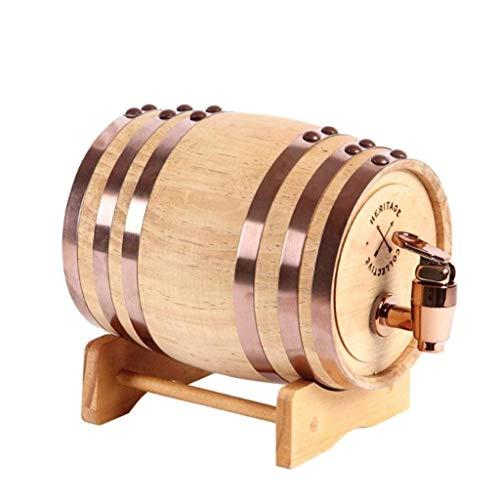HEMFV Barril de Vino del Roble de la Vendimia, Madera aserrada Inicio Barril del Whisky Dispensador for vinos, Bebidas espirituosas y licores!Sostiene la Botella Entera/Manilla, 0.75L