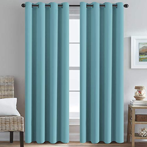 H.Versailtex Thermal Insulated Blackout Drapes Soft and Smooth Microfiber Formaldehyde-Free Curtains for Nursery,Grommet Window Panels,52 by 84 - Inch - Aqua - Set of 2
