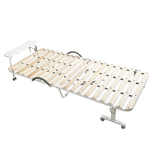 折りたたみ・移動式 すのこベッド ナチュラル(宮付き・コンセント付き・キャスター付き・移動式・折りたたみ式)
