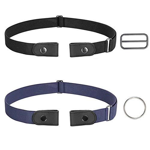 COXTNBIO Cinturón elástico, 2 piezas sin cinturón de hebilla para mujer, cinturón invisible para pantalones vaqueros vestido, cinturón elástico ajustable para mujer u hombre