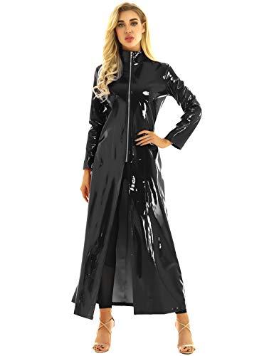Freebily Unisex Lack Mantel Matrix Kostüm Damen Herren PVC Leder Trenchcoat Jacke Stehkragen mit Reißverschluss Sexy Kleid Wetlook Body Clubwear Schwarz XL