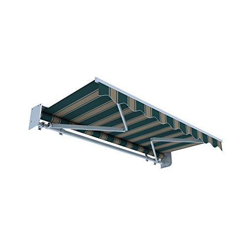 jarolift Gelenkarmmarkise Basic Plus Balkonmarkise Sonnenschutz für Terrasse, mit Regenschutzdach, 600 x 350 cm, Braun-Grün Multistreifen