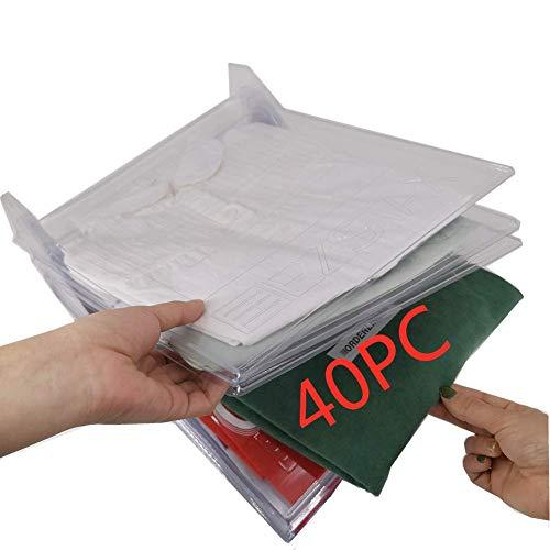Nifogo Organizador de Armario el hogar Estantería Plegable Estante de Almacenamiento Organizador Plegable Apilamiento Camisas Camiseta Folder (40Pack) 🔥