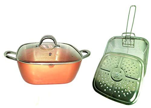 Copper XL Pan 12 Inch 6 Qt. Deep Square Pan 5-Piece Set With Pour Spout Round Handles Induction Base Dishwasher Safe