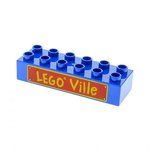 1 x Lego Duplo Bau Stein blau 2x6 bedruckt mit LEGO Ville für Set Eisenbahn 3778 5608 2300pb005