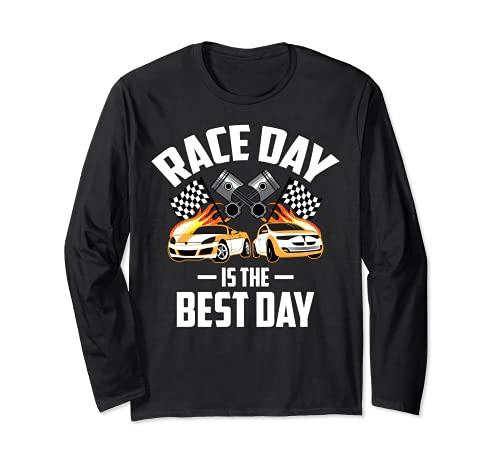 Día de la carrera es el mejor día   Lindo coche Racer divertido regalo de conducción Manga Larga