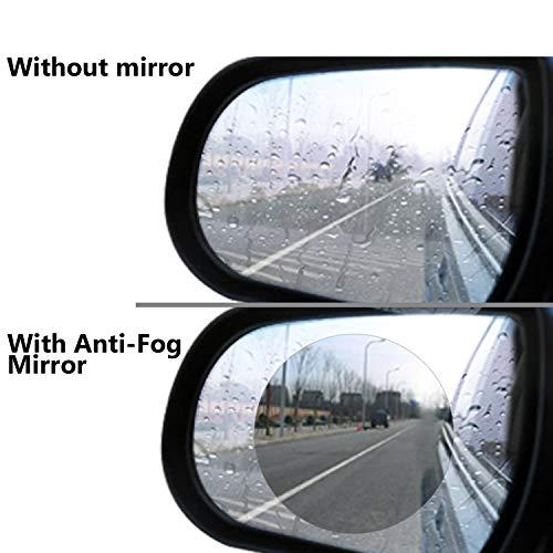 Taslar Waterproof Film Rear View Mirror Side View Glass Anti-Fog Anti-Glare Rainproof Film for Universal Car Bus - Pack of 2