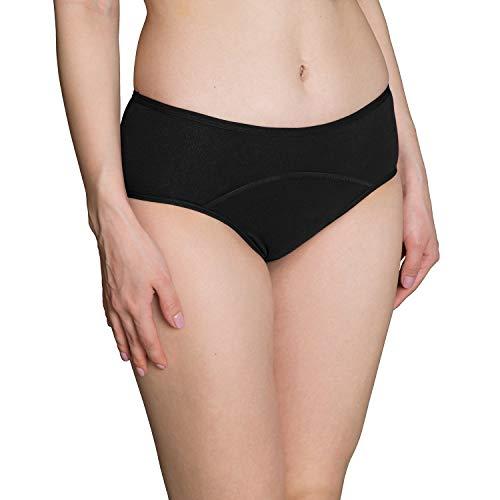 INNERSY Menstruation Perioden Unterwäsche Baumwolle Inkontinenz Slip Schwarz 3er Pack (S-EU 38, Schwarz-dunkler Schritt)
