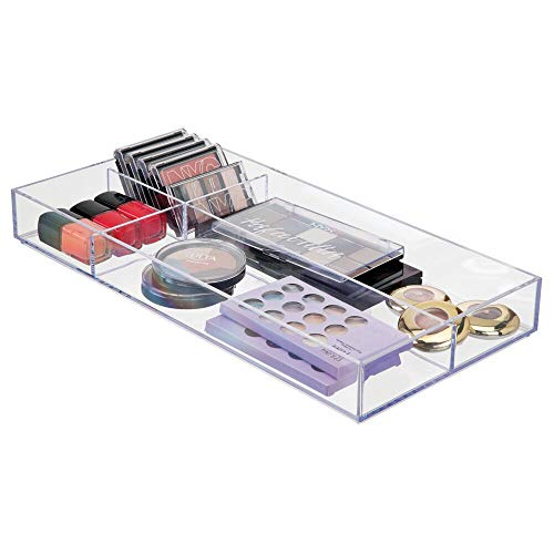 mDesign Kosmetik Organizer durchsichtig und stapelbar – transparente Aufbewahrungsbox – ideal zur Schminkaufbewahrung – Maße: 20 cm x 40.5 cm x 5 cm – Fächerbox mit 4 Bereichen