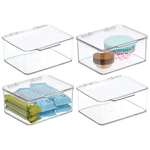 mDesign Juego de 4 Cajas de plástico con Tapa – Caja de almacenaje pequeña para Estante de Cocina y despensa – Organizador de Nevera apilable para té, café y Aperitivos – Transparente