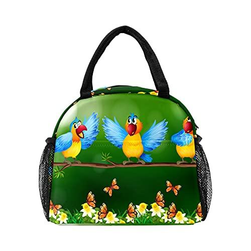 Loro pájaros en mariposa flor jardín bolsa de almuerzo para mujer aislado personalizado reutilizable caja de almuerzo térmica enfriador bolsa para el trabajo picnic