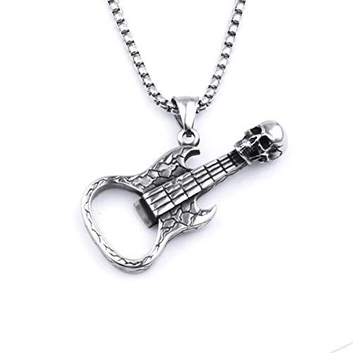 Collares Colgante Joyas Retro Creativo Calavera Guitarra Abridor De Botellas Hombres Collar Marea Hip Hop Accesorios De Joyería De Moda Colgante Regalo-A_60Cm