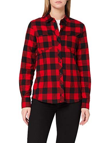 Urban Classics Damen Ladies Turnup Checked Flanell Shirt Hemd , Mehrfarbig (blk/red 44) , L