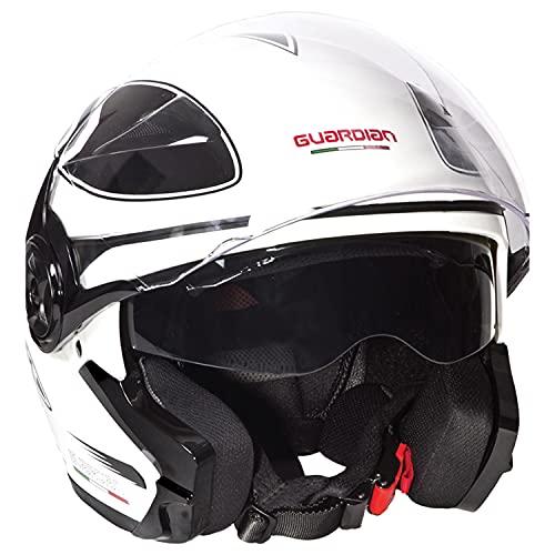 """Guardian 0349 Casco da Moto Jet - Doppia visiera. Visiera supplementare """"occhiale"""" extra fumè retrattile mediante meccanismo laterale - White Graphic, Taglia M"""