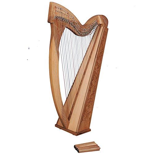 Muzikkon Arpa Boru de 29 cuerdas, nuez, arpa celta irlandesa, arpa irlandesa