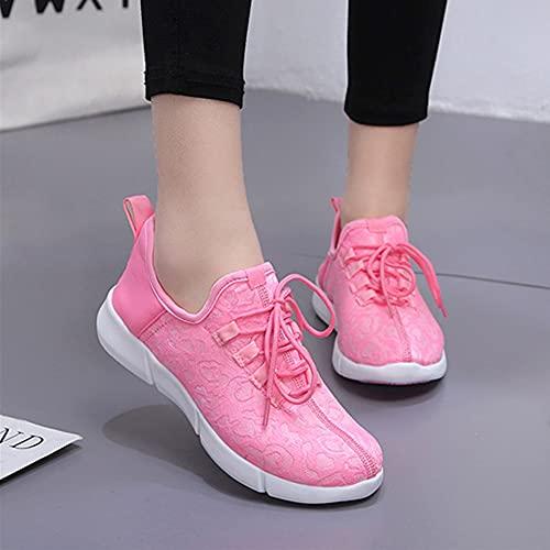 APWIN Chaussures lumineuses en Tissu Fiber Optique, Baskets Lumineuses Avec Lumière, Chaussures d'été Lumineuses, Rechargeables USB, 11 Couleurs, Chaussures de Fête de MariagePink-41