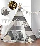 Haus Projekt Kids TeePee with Fairy Lights, Bunting & Waterproof Base 160cm Tipi Tent (Grey)