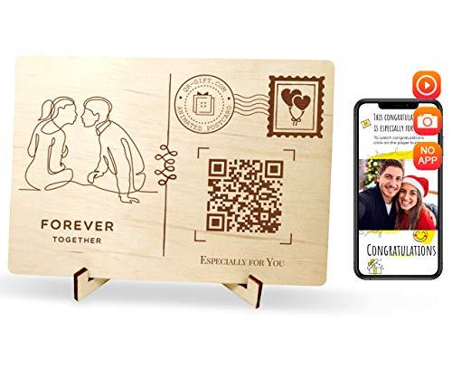 QR.Gift Forever Together Personalisierte animierte Postkarte zum Jahrestag, handgefertigt, Echtholz-Design-Grußkarte für Ehemann, Ehefrau oder für ihn, mit Geschenkpapier