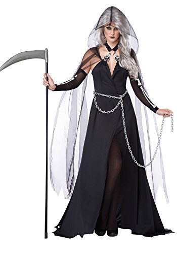 California Costumes Women's Lady Reaper Scary Ghost Demon Costume, Black, Large