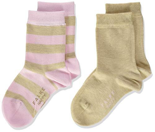 FALKE Unisex Kinder Happy Stripe 2-Pack K SO Socken, Beige (Sand Melange 4650), 39-42 (13-16 Jahre) (2er Pack)