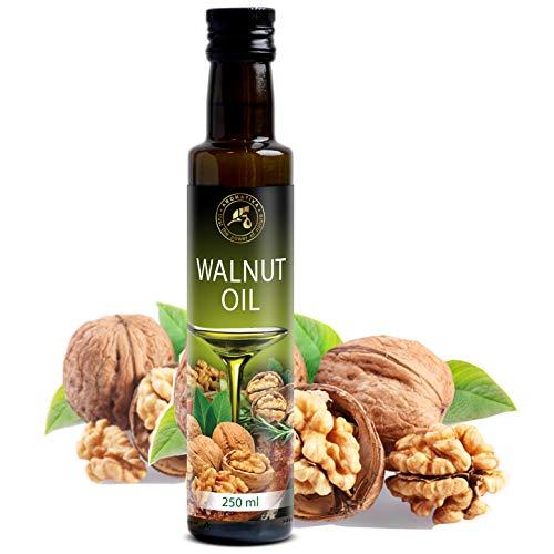 Aceite de Nuez 250ml - Prensado en Frío - 100% Puro & Natural - USA - Botella de Vidrio - Cocina Saludable - Ricos en Vitaminas - Minerales - Micro y Macro Elementos - Walnut Oil