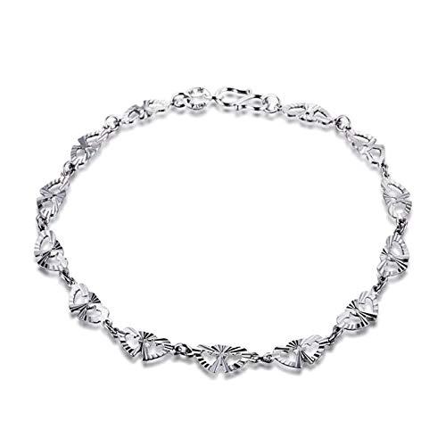 Aartoil Pulsera de platino para mujer con colgante de doble corazón desenredado, plata