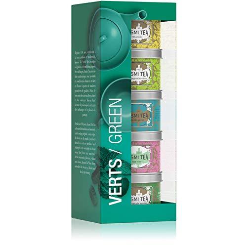 Kusmi Tea Geschenkset Grüner Tee - 5 Mini Metalldosen mit Grünen Tees - 5 Natürliche Aromen Jasmin, Ingwer-Zitrone, Label Impérial, Rose, Minze - In Frankreich Verpackt
