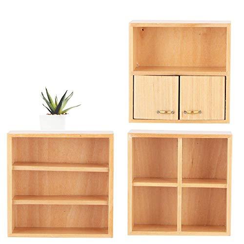 Nannday ?Enkla att fästa: miniatyr dockhus skåp, 1:12 mini träskåp möbler vardagsrum sovrum skåp enhet för dockhus (1–2 #)