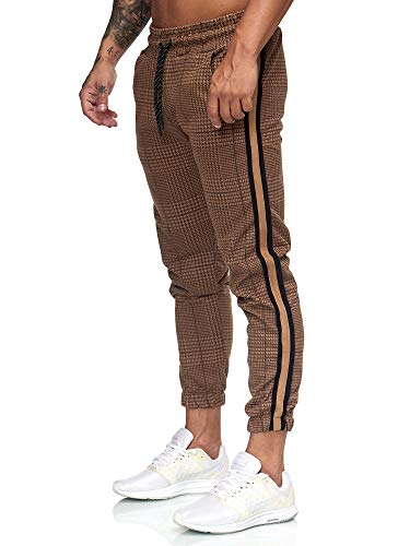 OneRedox Herren | Jogginghose | Trainingshose | Sport Fitness | Gym | Training | Slim Fit | Sweatpants Streifen | Jogging-Hose | Stripe Pants | Modell 1226 Braun Schwarz S