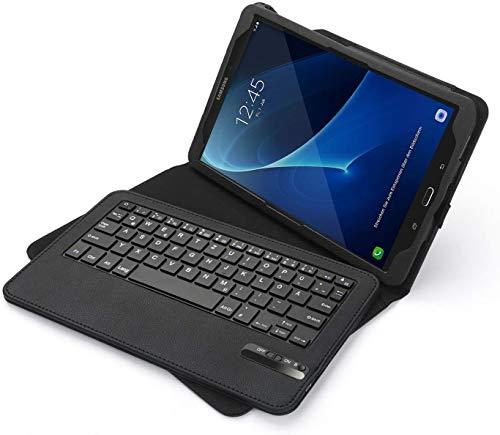 Jelly Comb Samsung Galaxy Tab A 10.1 Zoll 2016 Tastatur Hülle, Bluetooth Keyboard Case Wiederaufladebarer Tablet Tastatur für Samsung T580/T585 Zoll, QWERTZ Deutsches Layout, Schwarz